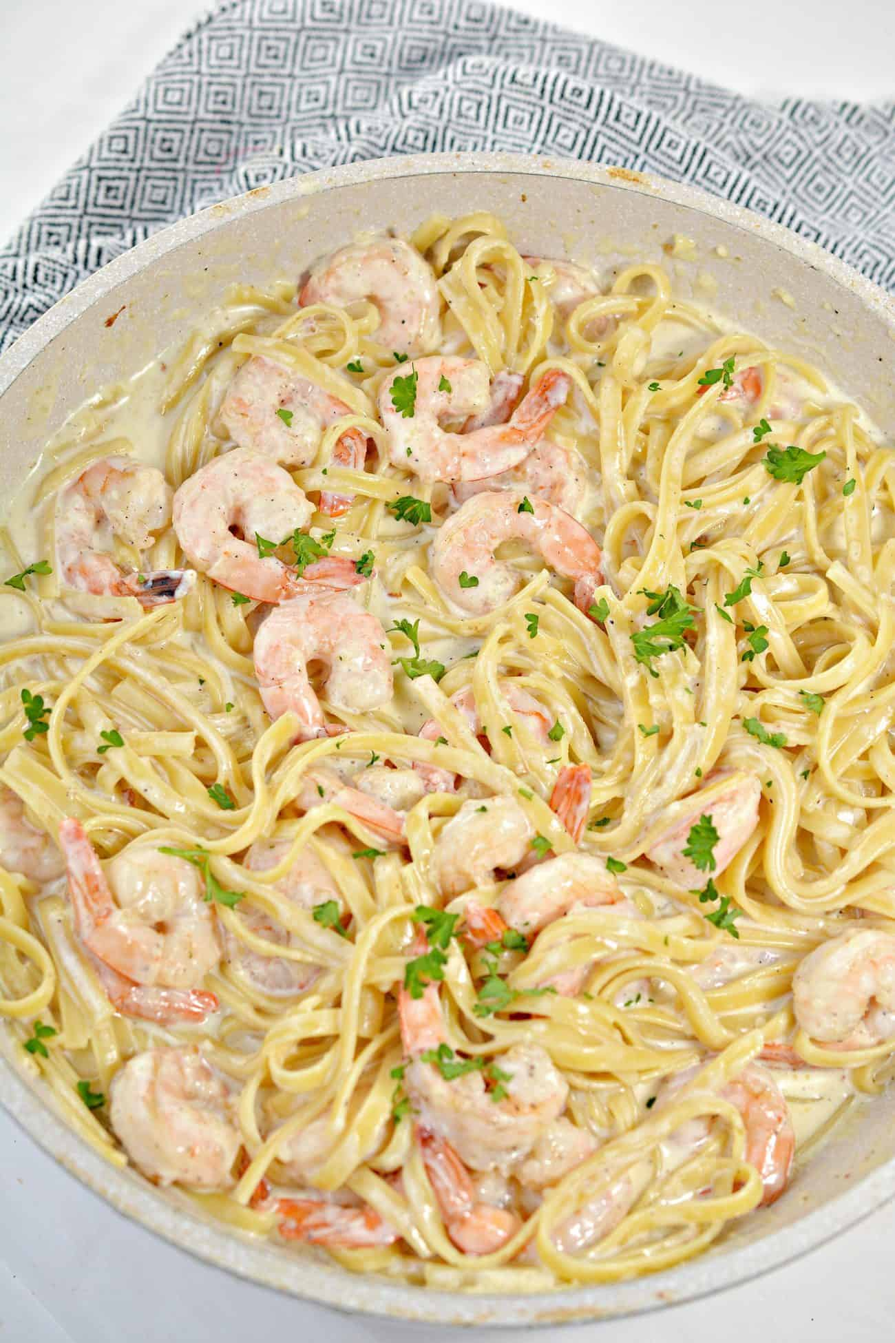 One Pan Shrimp Fettuccine Alfredo