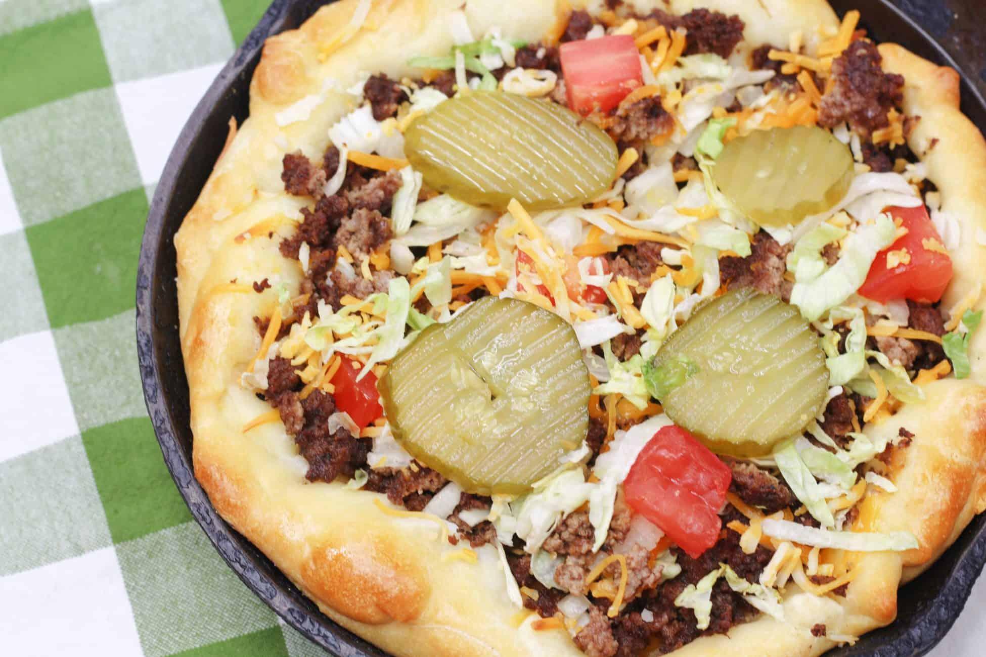 Cheeseburger Skillet Pizza