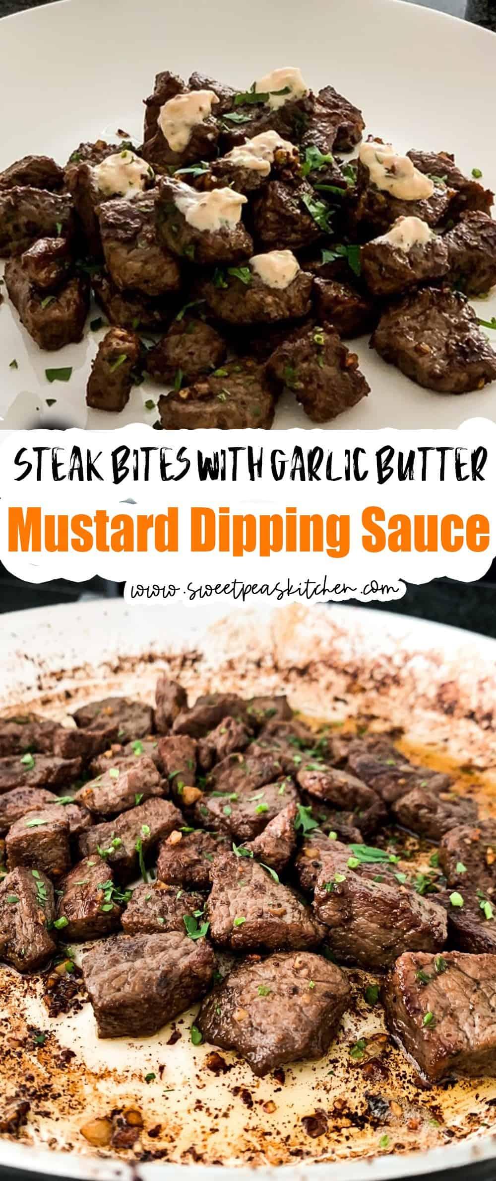 Steak Bites With Garlic Butter & Mustard Dipping Sauce