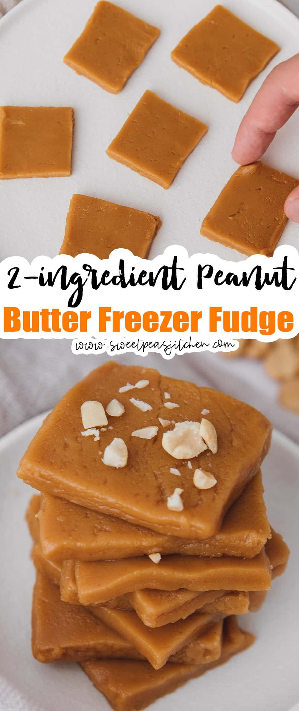 2-ingredient Peanut Butter Freezer Fudge
