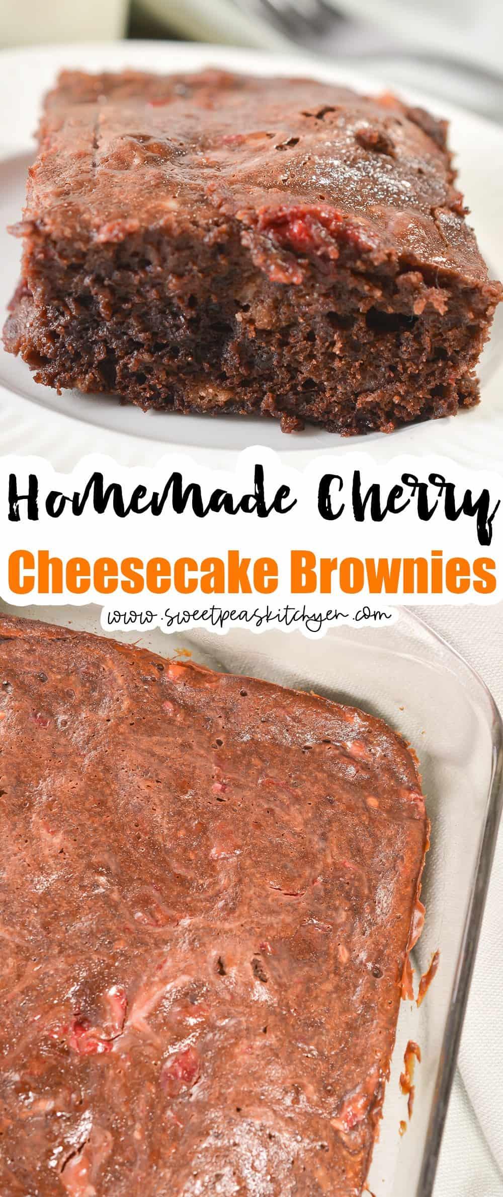 Cherry Cheesecake Brownies with Fresh Cherries
