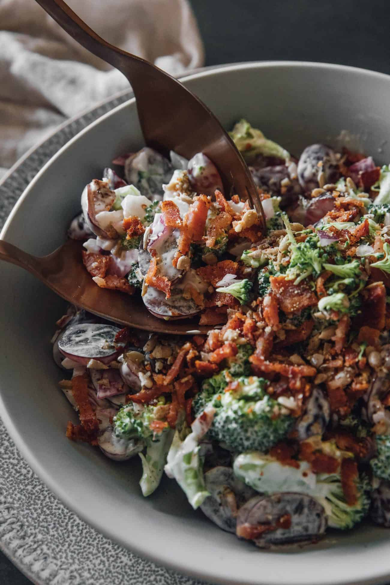 Broccoli Salad With Red Grapes, Bacon and Sunflower Seeds