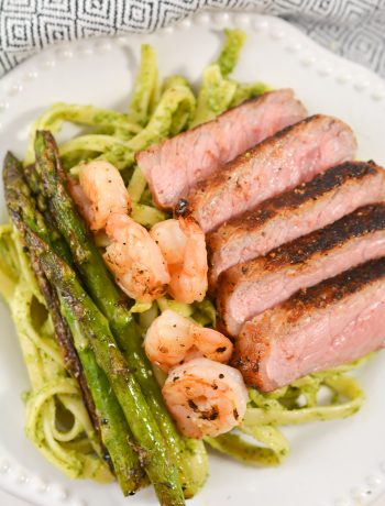 Steak and Shrimp Pesto Sauce Linguini