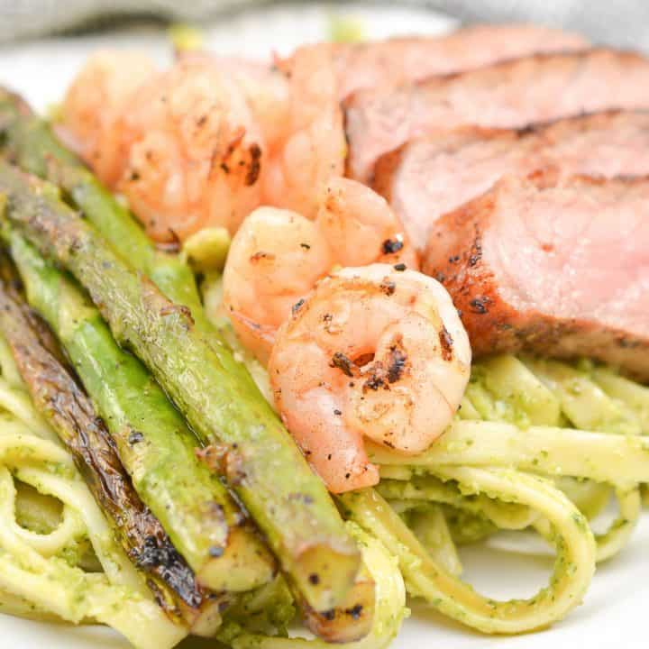 Steak and Shrimp Pesto Sauce Linguini