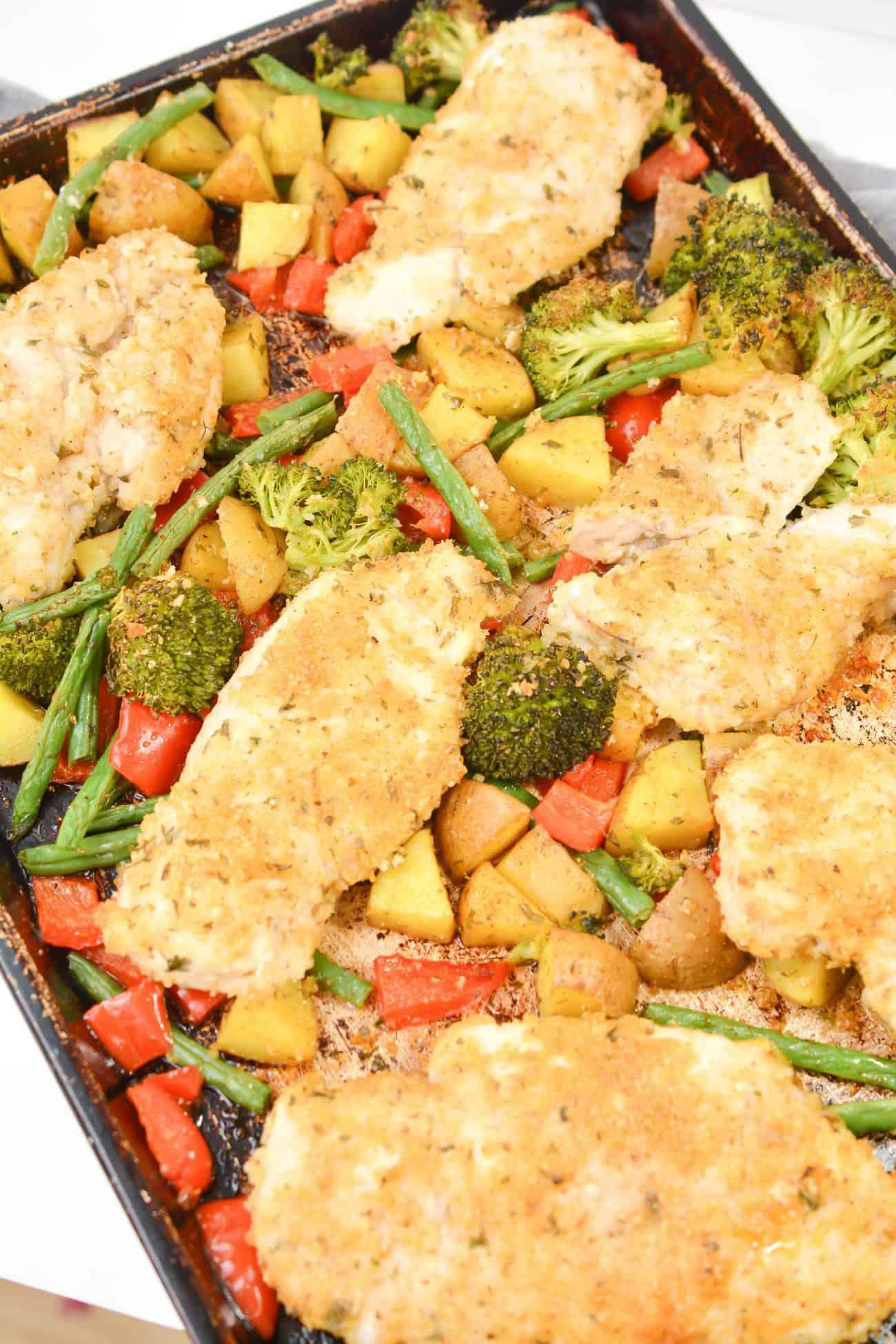 Sheet Pan Parmesan and Panko Chicken and Veggies