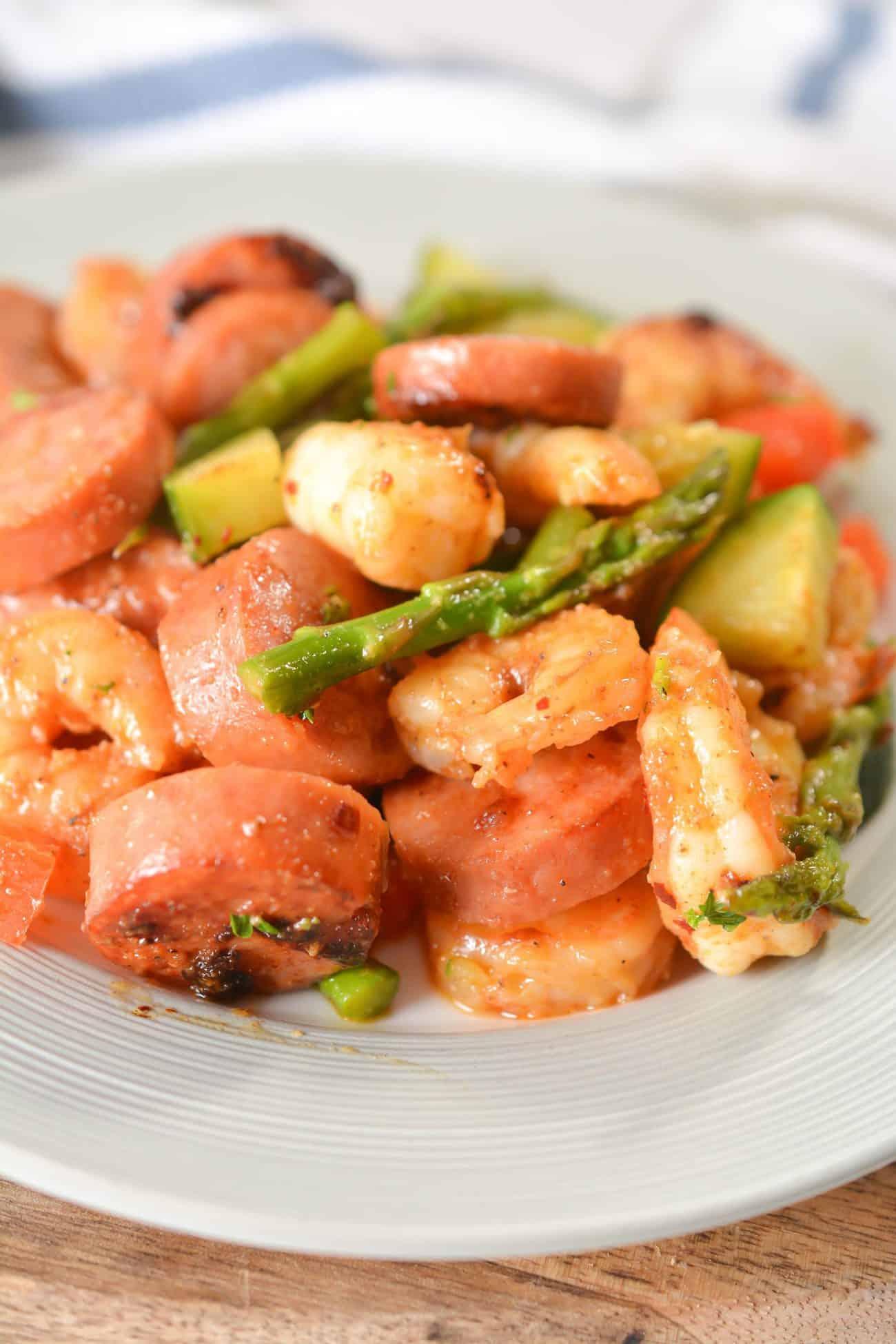 Shrimp and Sausage Veggie Skillet