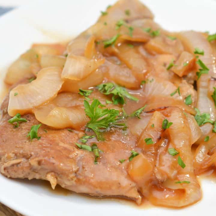Smothered Pork Chops with Onions in Red Eye Gravy