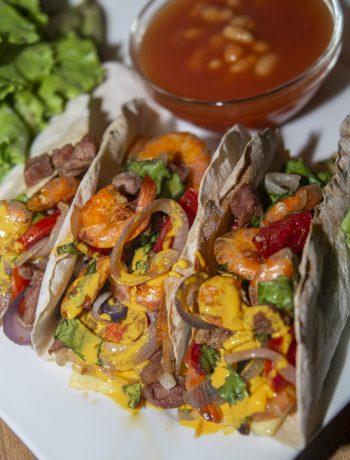 Steak and Shrimp Fajita Tacos