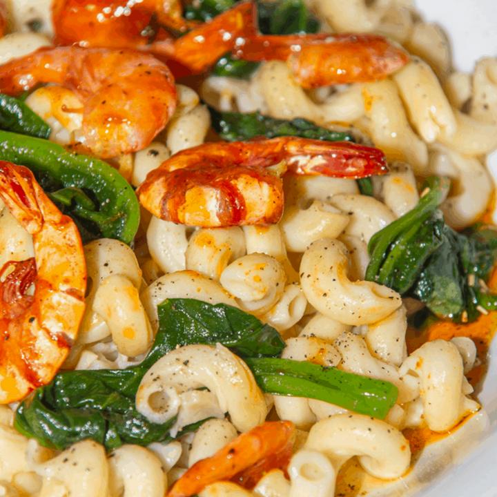 Italian Sauced Farfalle with Shrimp and Spinach