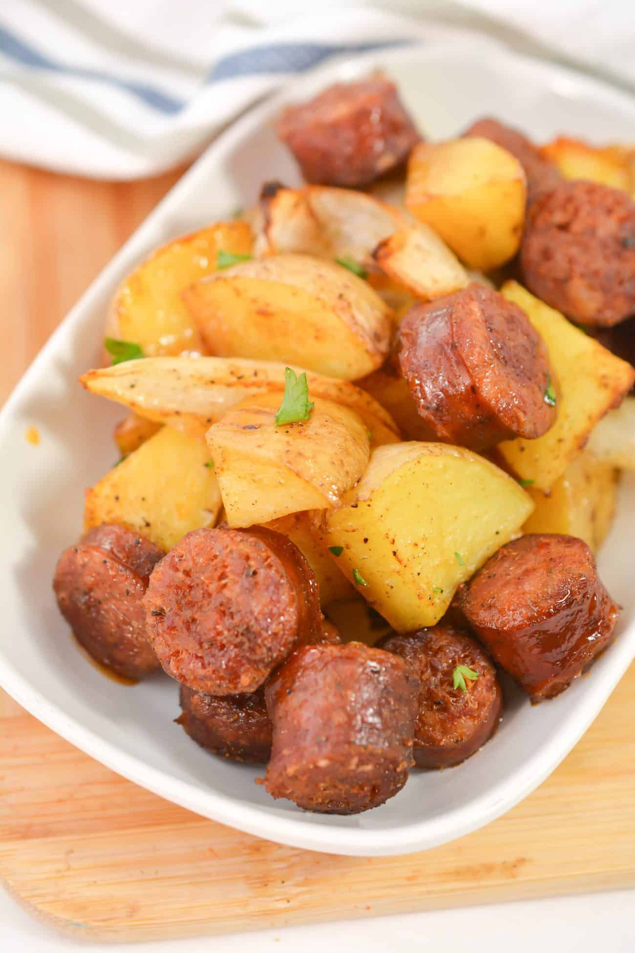One Pan Oven Roasted Potatoes, Sausage and Peppers