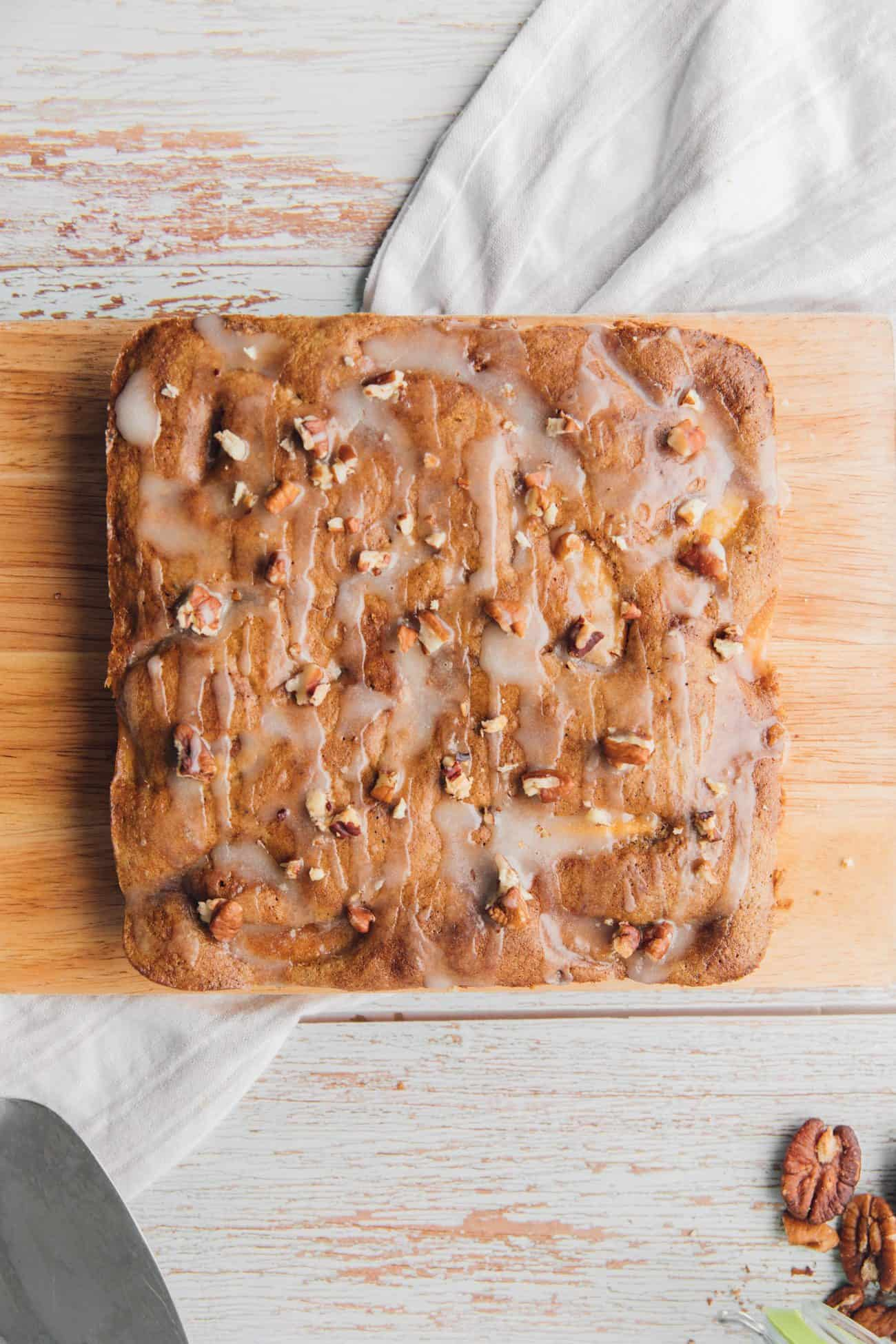 Peach Cake with Cinnamon and Pecans