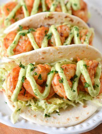 Spicy Shrimp Tacos with Avocado Crema