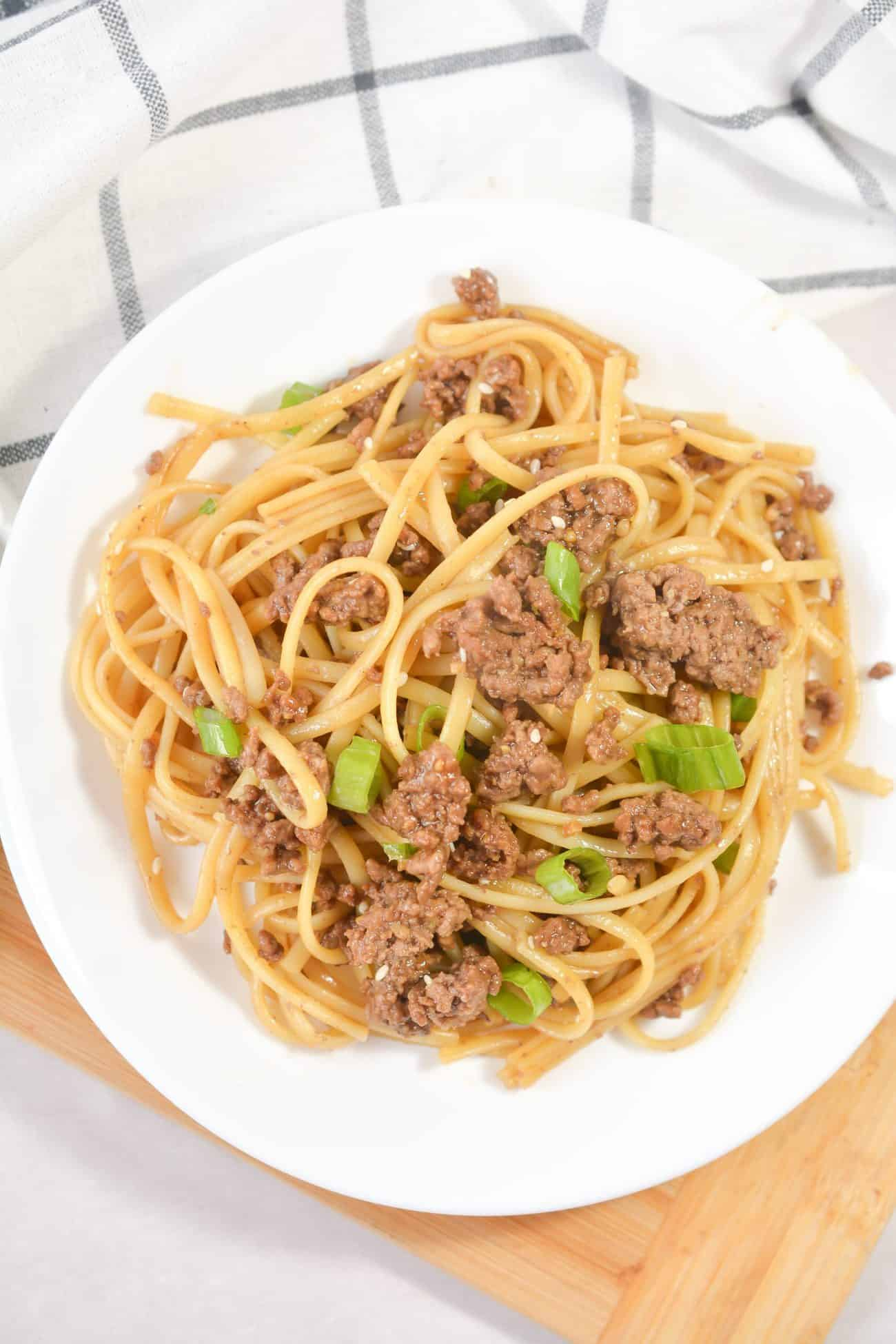 Easy Mongolian Ground Beef Noodles
