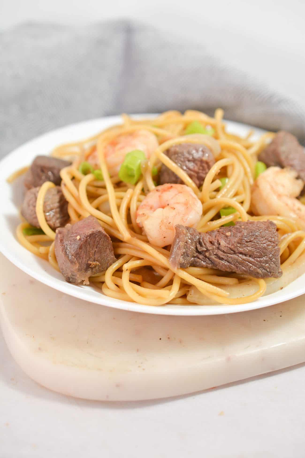 Steak and Shrimp Teriyaki Noodles