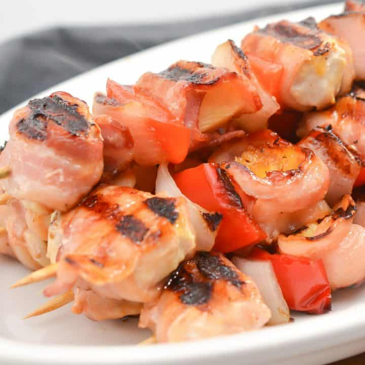 Chicken, Bacon, Pineapple Kebabs