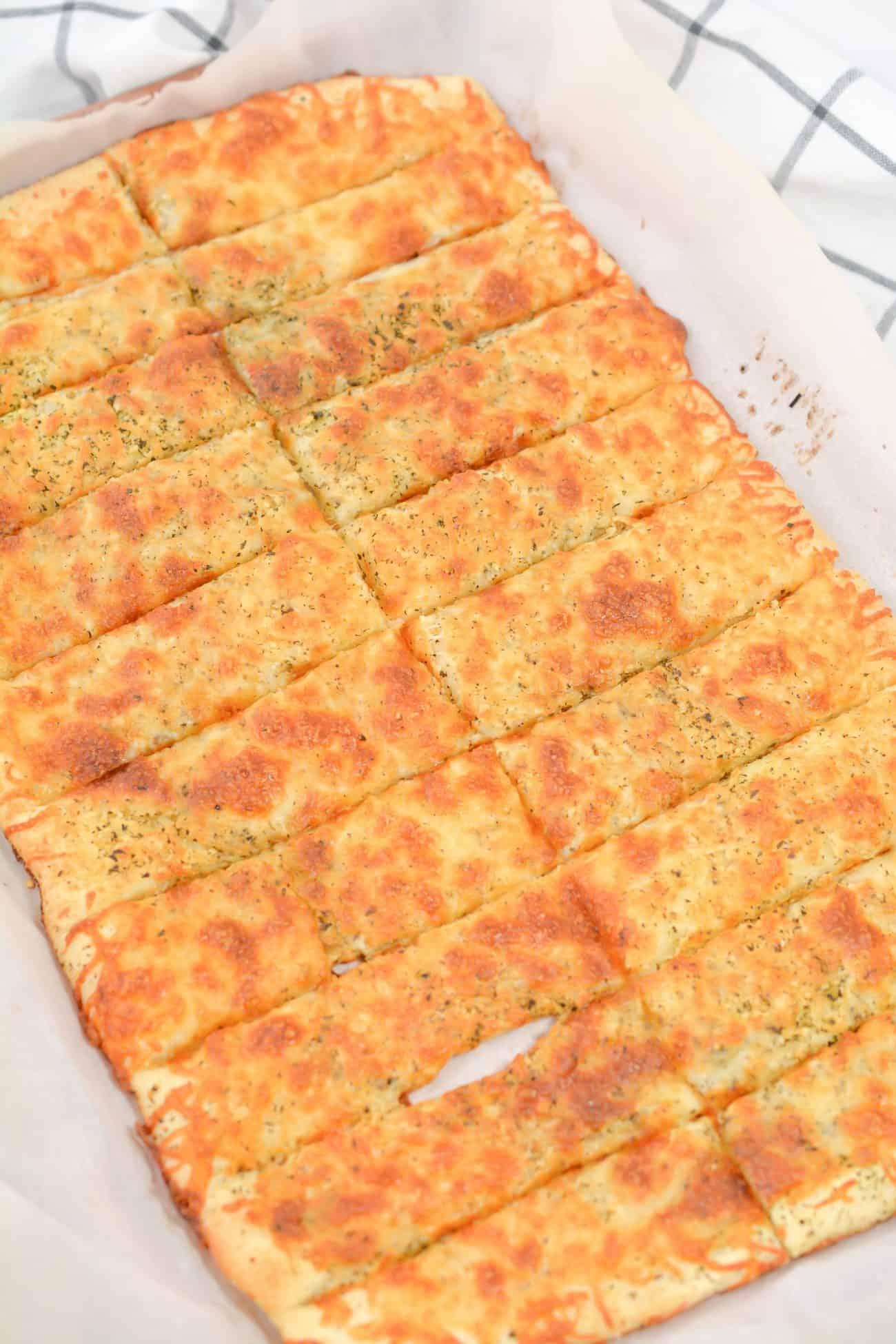 Homemade Cheesy Garlic Breadsticks