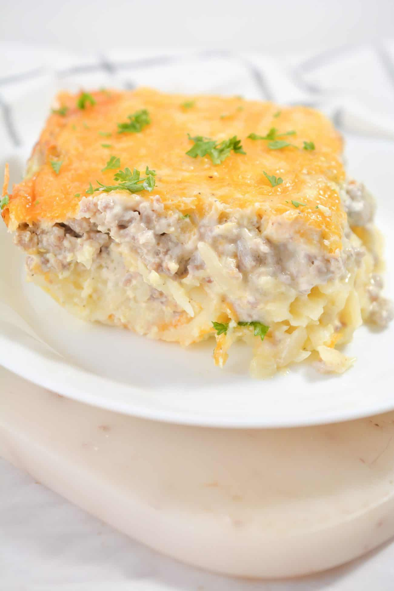 Sausage, Egg and Cream Cheese Hashbrown Casserole