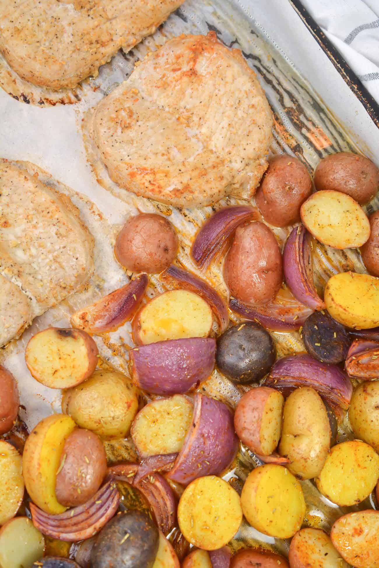 Sheet Pan Pork Chops with Multi Colored Potatoes