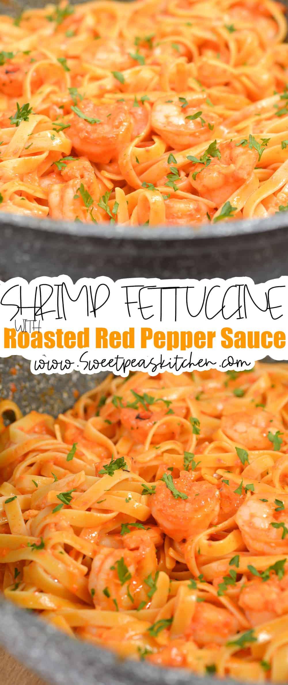 Shrimp Fettuccine with Roasted Red Pepper Sauce
